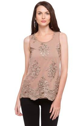 Womens Round Neck Embroidered Layered Top