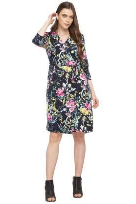 Womens Surplice Neck Floral Print Wrap dress