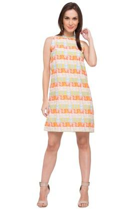 Womens Round Neck Printed Shift Dress