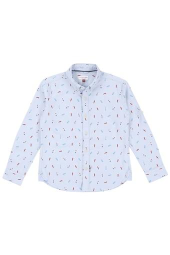 Boys Regular Fit Collared Printed Shirt