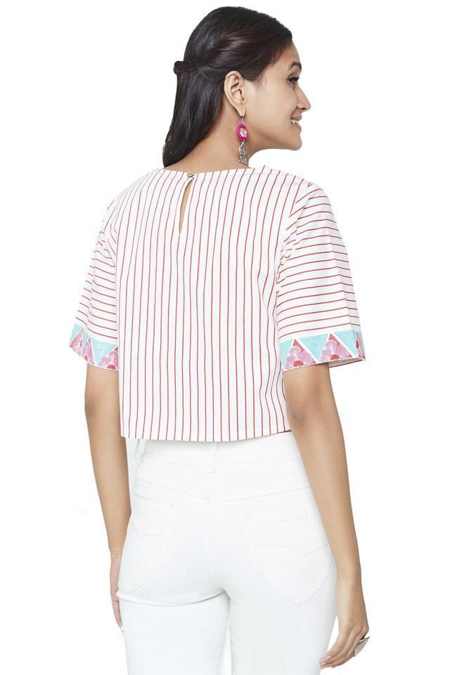 Womens Round Neck Stripe Crop Top