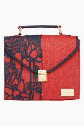 SATYA PAULWomens Metallic Lock Closure Satchel Handbag