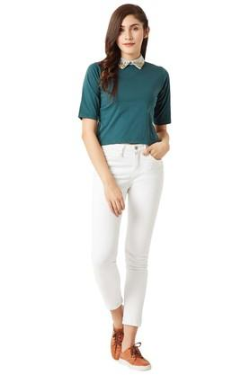 Womens Peter Pan Collar Solid Boxy Crop Top