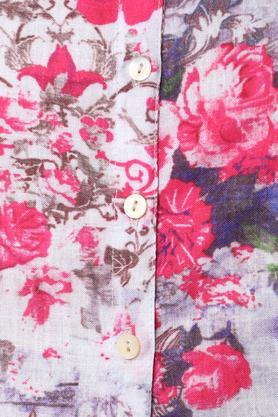 Womens Mandarin Collar Floral Print Kurta and Pants Set