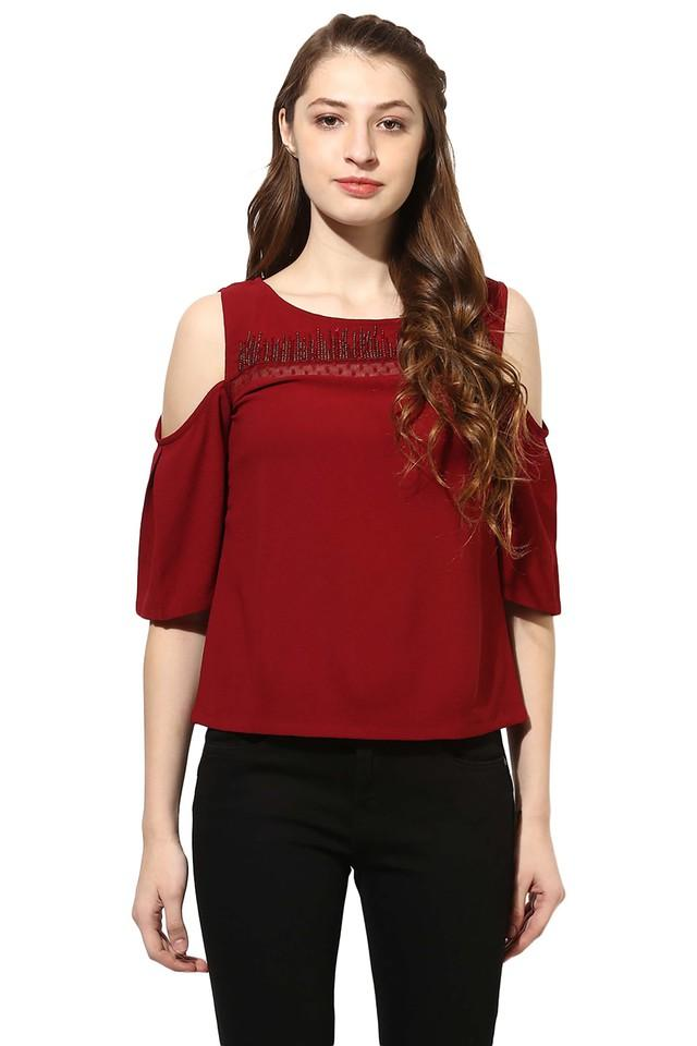 Womens Round Neck Embellished Top