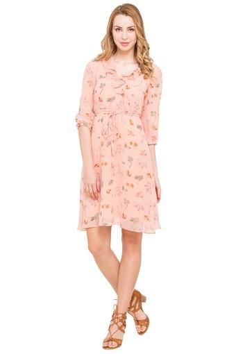 Womens Ruffled Neck Printed A-Line Dress