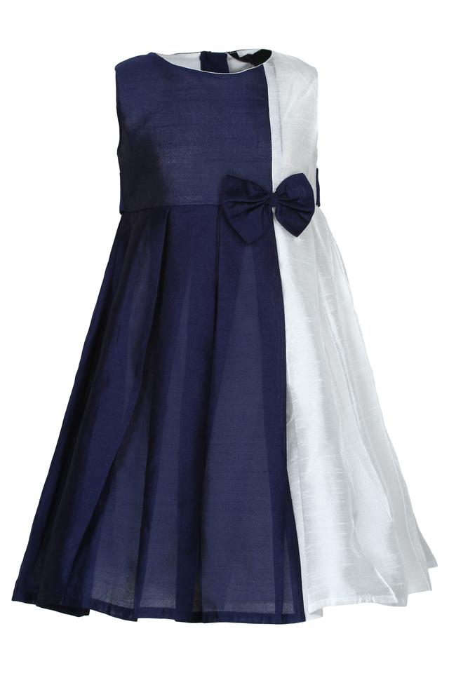 Girls Round Neck Colour Block A-Line Dress