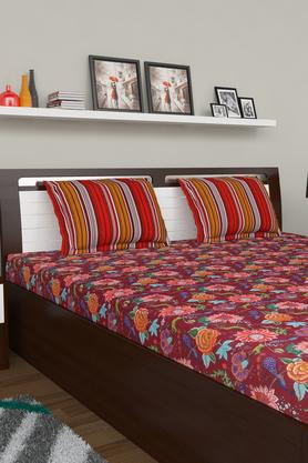 Floral Printed King Double Bed Sheet With Pillow Covers