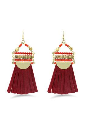 Womens Beads and Tassel Drop Earrings