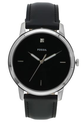 Mens The Minimalist Black Dial Leather Analogue Watch - FS5497I