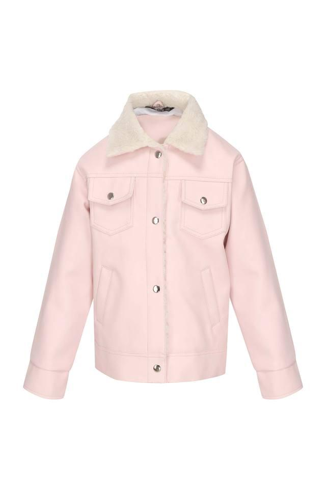 Girls Collared Solid Jacket