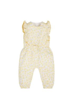 Girls Round Neck Floral Print Jumpsuit