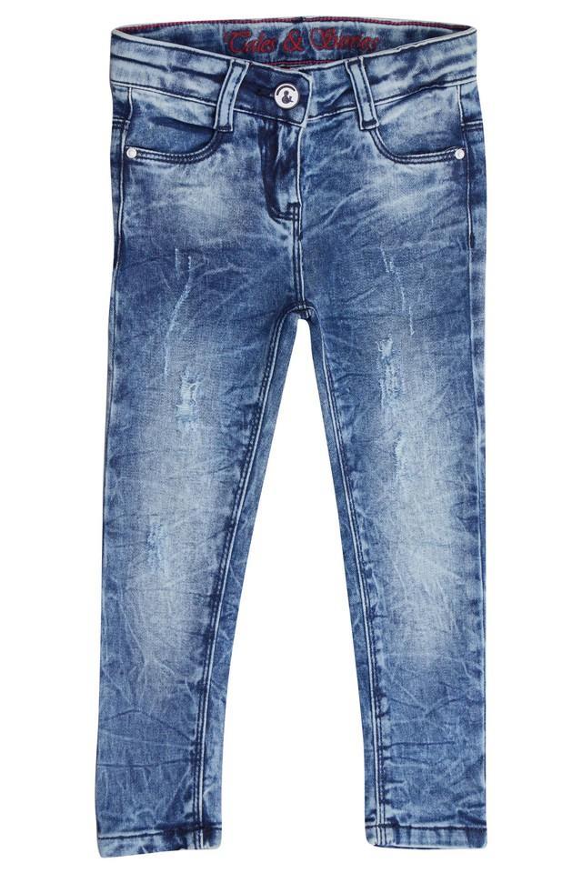 Girls 4 Pocket Distressed Jeans