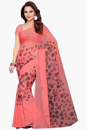 ISHIN Womens Faux Georgette Floral Printed Saree - 203260317_9506