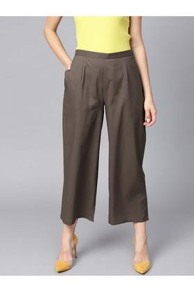 Women Cotton Solid Palazzowith Both Side Pockets