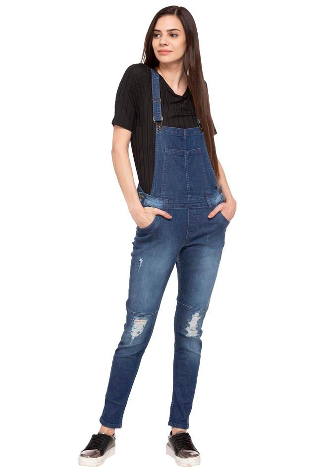Womens Square Neck Washed Dungarees