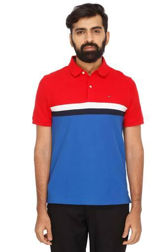 3a06245cb Buy TOMMY HILFIGER Mens Colour Block Polo T-Shirt   Shoppers Stop