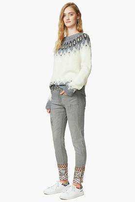 Womens 4 Pocket Mild Wash Ankle Length Jeans