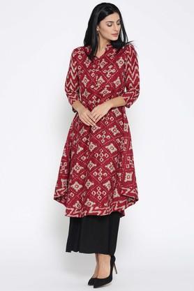 JASHNCotton Silk Ethnic Motifs Mandarin Collar Kurta