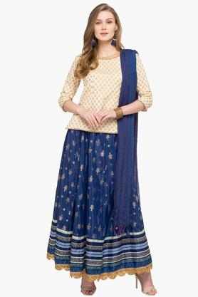 IMARA Womens Round Neck Printed Kurta, Skirt And Dupatta Set