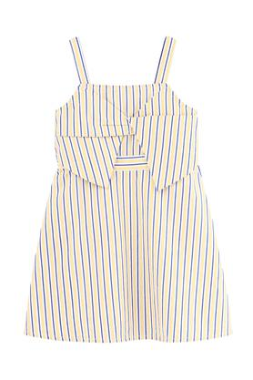 Girls Regular Fit Strappy Neck Stripe Flared Dress