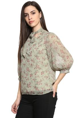 Womens Tie Up Neck Floral Print Top