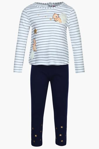 Girls Round Neck Striped Top and Solid Pants Set