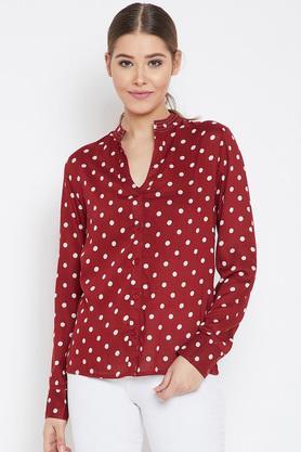 Womens Mandarin Collar Polka Dots Shirt