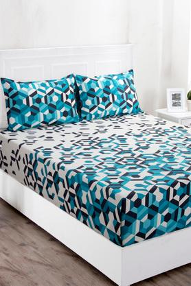 Superfine Cotton Blue Double Bedsheet with 2 Pillow Covers - 144 TC