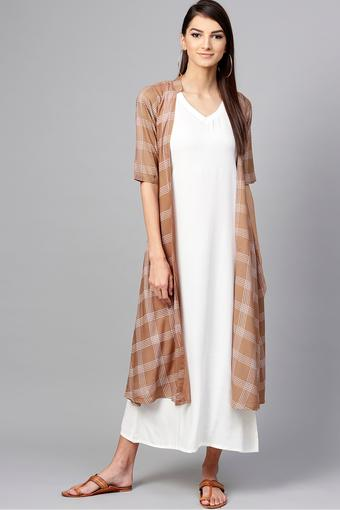 Womens V Neck Solid A-line Dress with Checked Long Shrug