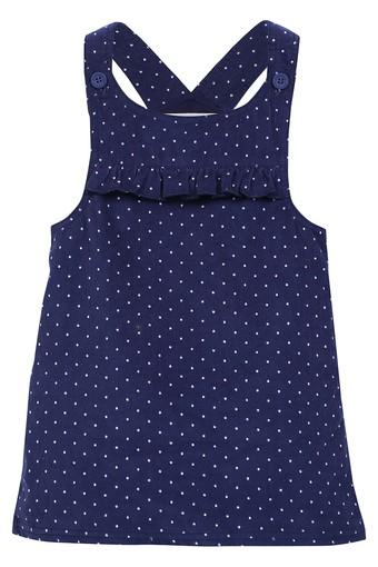 Girls Round Neck Polka Dots A-Line Dress