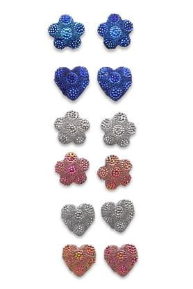 Womens Hearts and Flowers Metallic Studs Set of 6 Pairs