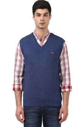 Mens V Neck Solid Sweater