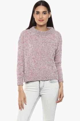 RS BY ROCKY STARWomens Round Neck Shimmer Sweater