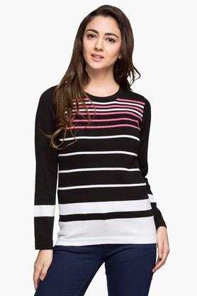 STOP Womens Round Neck Stripe Sweater - 203346789