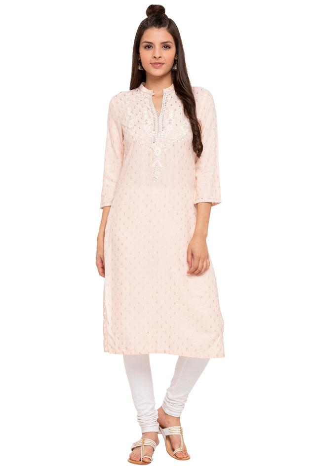 Womens Mandarin Collar Zari Embroidered Kurta