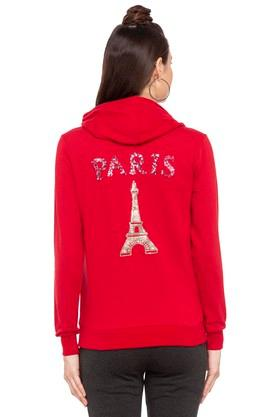Womens Hooded Solid Embellished Sweatshirt