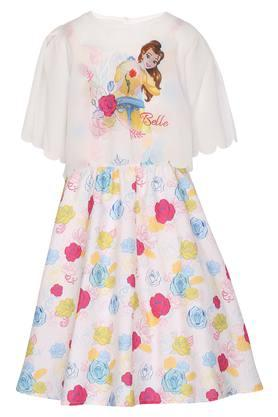Girls Round Neck Printed Flared Dress with Cape