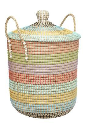 BACK TO EARTH Conical Colour Block Basket With Lid And Handle