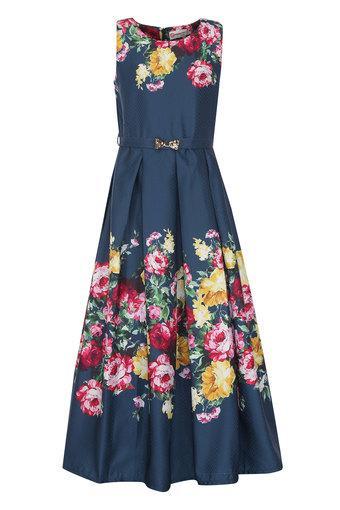 Girls Round Neck Floral Print Maxi Dress with Belt