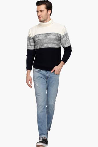 Mens Turtle Neck Colour Block Sweater