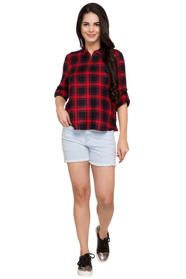 Womens Zip Through Checked Shirt