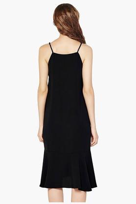 Womens Spaghetti Neck Solid Midi Dress