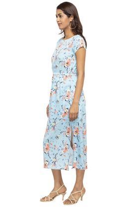 Womens Floral Print Calf Length Dress