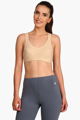 Womens Padded Non Wired Colour Block Racer Back Sports Bra