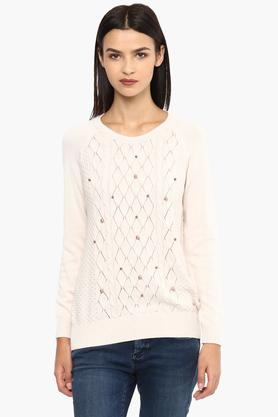VAN HEUSEN Womens Round Neck Solid Knitted Sweater