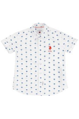 Boys Regular Fit Collared Printed Shirt