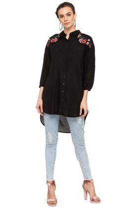 Womens Embroidered High Low Shirt