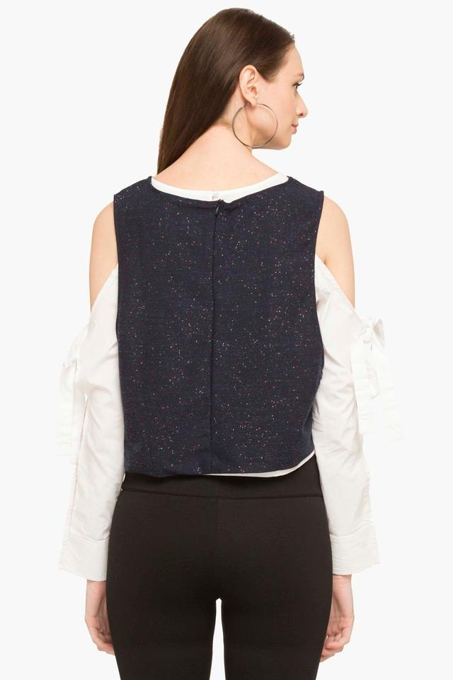 Womens Round Neck Colour Block Layered Top