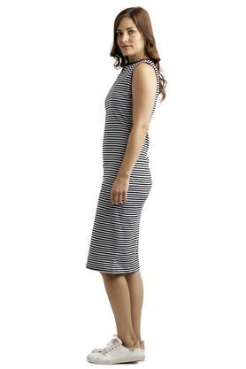 Womens Mandarin Neck Stripe Bodycon Dress